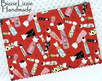 Cat Lover Pouch, Handmade Red Pouch, Extra Large Zipper Pouch, Japanese Red Kokeshi Cat Fabric Cosmetic Bag