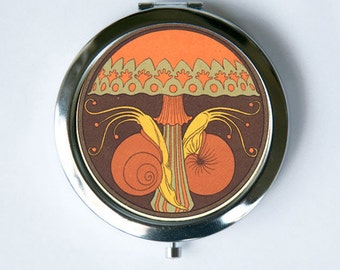 Art Nouveau Mushroom and Snails Compact Mirror Pocket Mirror design Pattern