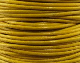 "2mm Round Yellow Leather Lace Cord - 2mm 3/32"" Diameter Sun Sunshine Summer Craft Jewelry Bracelet Wrap Necklace - I ship Internationally"