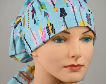 LARGE Surgical Scrub Cap - Perfect Fit Tie Back with FABRIC TIES - Lucky Arrows