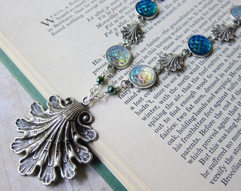 Mermaid Treasures - Iridescent Mermaid Scale and Shell Necklace