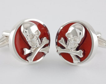 Round Skull & Bones Cufflinks in Sterling Silver and red enamel, personalized