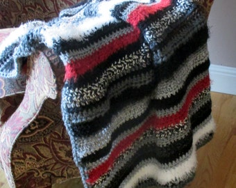 Handmade Blanket - Red Black & White Throw - Wedding Gift - Hostess Gift - Home Decor - Ready To Ship Afghan - Mother's Day Gift Idea