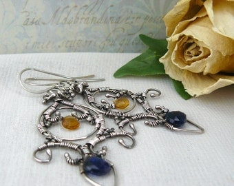 Gemmy Kyanite Earrings ~ Blue Kyanite Earrings ~ Citrine Earrings ~ Fleur de Lis Earrings ~ Wire Wrapped Earrings ~ Fancy Silver Earrings