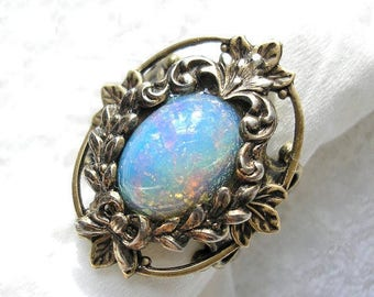 Blue Opal Rainbow Antiqued Brass Ring Adjustable Glass Opal Ring