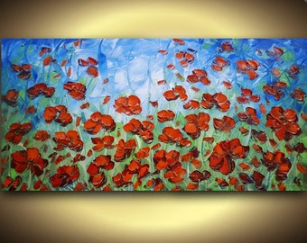 Original Large Abstract Contemporary Fine Art- Red Flowers Impasto LANDSCAPE Modern Palette Knife Oil Painting by Susanna