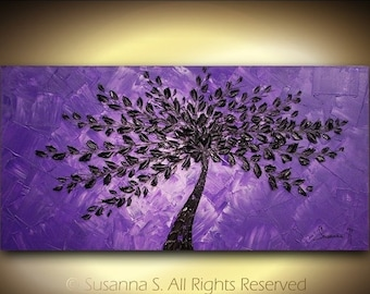 ORIGINAL Large Abstract Contemporary Fine Art Purple Black Tree Landscape Modern Palette Knife Impasto Painting by Susanna 48x24 Made2Order