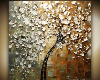 ORIGINAL Tree Painting Large Abstract White Cherry Blossom Thick Texture Fine Art 30x30 Made2Order by Susanna Shap