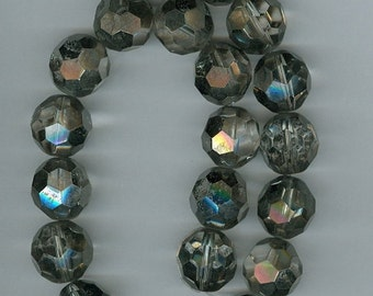 CLEARANCE 16mm Smokey AB Glass Faceted Glass Round Beads