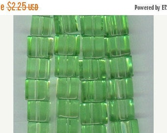 CLEARANCE 6mm Apple Green Glass Cube Spacer Beads 6x6mm Bead Spacers 16 Inch Strand
