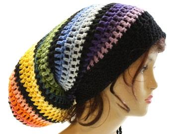 Dread Tam Oversized Hippie Hat Crochet Dreadlock Sack Beanie Burning Man Festival Clothing Mens or Womens Rainbow