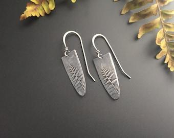 Fern Shield Recycled Sterling Silver Earrings