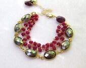 RESERVED for BILLIE...Bezel Set Pyrite, Raspberry Ruby Double Strand Bracelet, 22kgv...