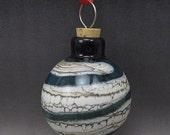 ON SALE Handmade Lampwork Glass Blown Hollow Ornament by Jason Powers SRA (light aqua 3)
