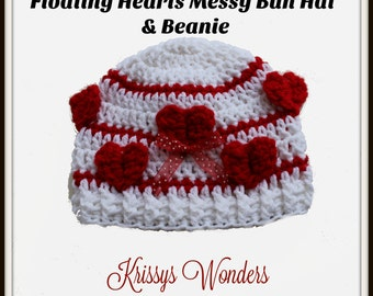 Messy Bun Hat - Crochet Hat Pattern - Ponytail Hat - Valentines Day Crochet Pattern All Sizes - 3-D crochet - Beanie Toque - KrissysWonders