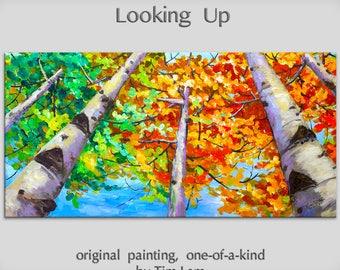 Art OIl painting Original modern landscape skyline bright blue sky, golden tree, looking up fall forest 48 X 24