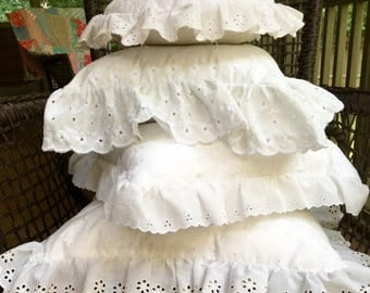 BIG SALE - White Eyelet Pillow Set with Ruffles - Shabby Chic - Cottage Style - 4 Eyelet Pillows - Lot of Pillows - Square Pillows - Round P
