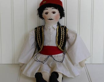 BIG SALE - Greek Doll in Traditional Costume - Male in Uniform - Large Soft Sculpture Doll - Red Black White - Soldier - Double Pleated Skir