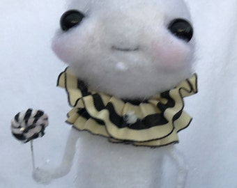 Snowman with a sweet tooth Ooak   art doll