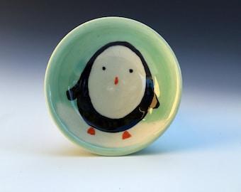 Tiny penguin bowl in aqua