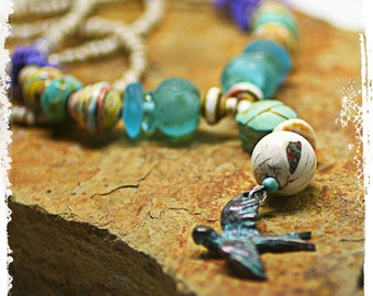 Scarab talisman necklace, Mixed media assemblage necklace, Dove necklace, Bohemian Statement jewelry, Artisan jewelry, OOAK handcrafted
