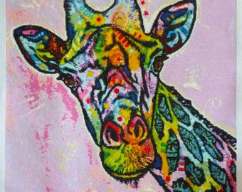 Modern cross stitch kit, Giraffe (deaexl138443) by Dean Russo - abstract counted cross stitch kit