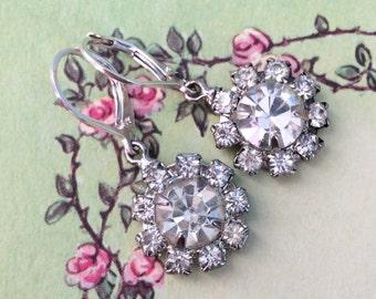 Shelby Earrings, vintage inspired rhinestone earrings