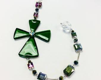 Cross Fused Glass Suncatcher in Green
