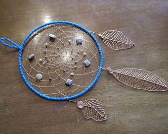 Naos Handmade Dream Catcher Wall Hanging Decor Jasper Agate Copper Wire Wirewrapped Leaves Feathers Turquoise Teal Native American Indian