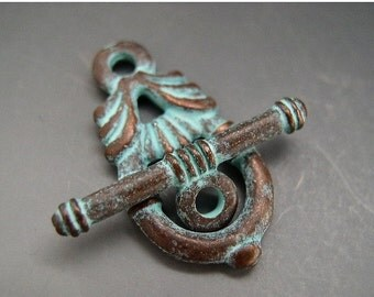 SALE Naos - Mykonos Greek Casting Antiqued Copper Green Toggle Clasp - 29mm Art Nouveau Design