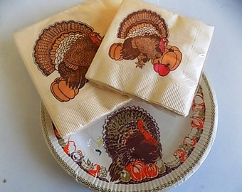 Vintage Thanksgiving Paper Plate and Napkin Set