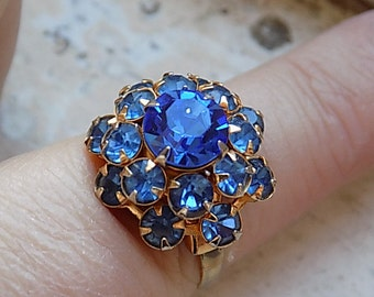 FREE SHIPPING Vintage Blue Rhinestone Cocktail Ring - Adjustable Band