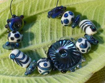 SRA Lampwork Glass Beads Handmade Catalinaglass Silver Glass Designer Set
