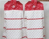 SET of 2 - Hanging Cloth Top Kitchen Hand Towels - Red and White Scroll Print - Red Stripe Towels