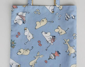 Tote shopping bag blue reused cotton with Moomin Mamma My Snorkmaiden