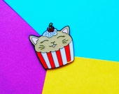 Cupcake cat enamel Lapel pin with glitter cherry frosting and sprinkles!
