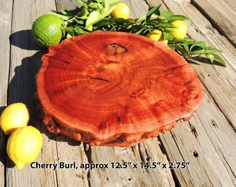 Natural Cherry Burl Wood Cutting Board or Serving Platter, live edge log slab, FREE shipping!