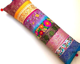 Bohemian Bolster Cushion / Pillow Cover - Vibrant Jewel Tones