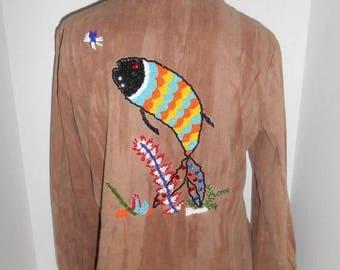 WOW Groovy 70's jacket shirt womens  hippie hippy boho bohemian gypsy  cotton beaded