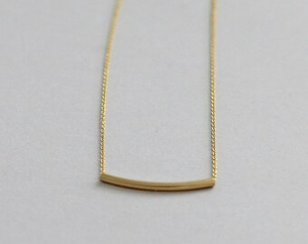 Curved Gold Bar Necklace / Sliding Bar Necklace / 14K Gold Fill / Layering Necklace / Gold Hammock Necklace