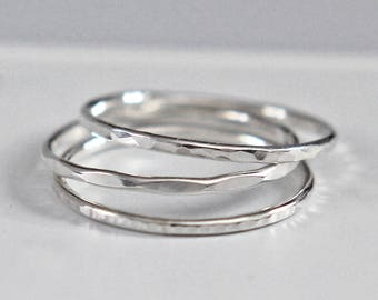 Sterling Silver Stacking Ring, Hammered Silver Ring, Silver Band, Stacking Ring Set, Silver Ring Set, Thumb Ring, Knuckle Ring, Audrey