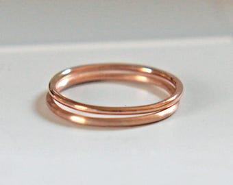Rose Gold Stacking Ring, Shiny or Brushed Rose Gold Ring, Rose Gold Band, Rose Gold Thumb Ring, Knuckle Ring, Minimalist Ring, Audrey
