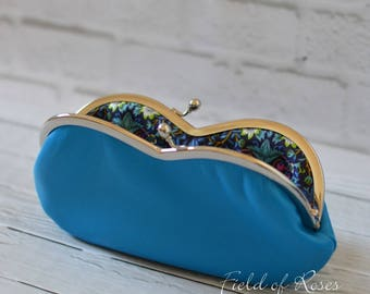 Deep Sky Blue Leather Sunglasses Eyeglasses Case with Liberty of London Lining Strawberry Thief Birds