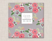 Girl Flower Baby Book, a Modern Baby Memory Book for Baby's First Year  (9.25 x 9.5)