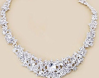 Bridal Necklace and Earrings Set, Bridesmaid Jewelry Set, Rhinestone Choker, Bridal Party Jewelry, Be My Bridesmaid Gift,  Diamond Necklace