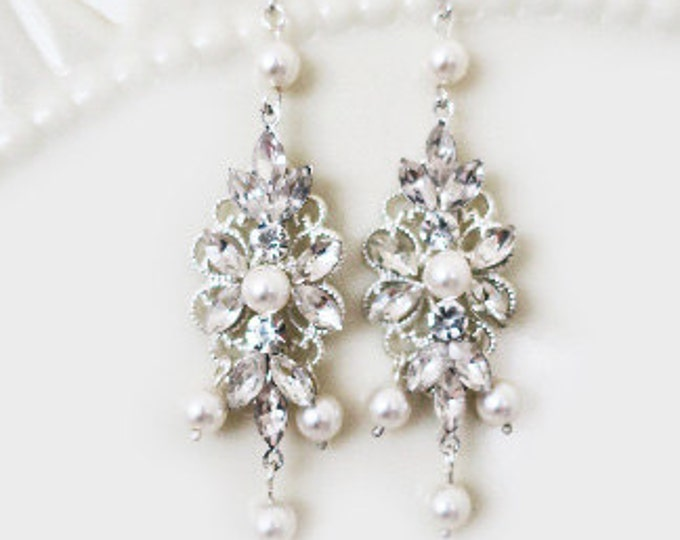 Chandelier Bridal Earrings Pearl Crystal Earrings Bridal Statement Earrings Pearl Rhinestone Earrings Bohemian Wedding Jewelry Rose Blush