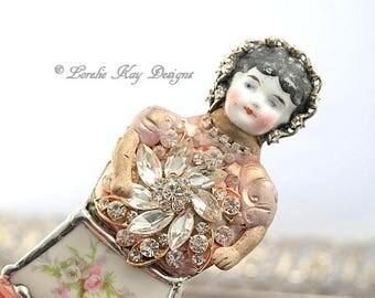 Alexia Doll Brooch Ornament Broken China Art Doll Flowers Mixed Media Soldered Rhinestone Girl Broach