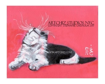 Tuxedo Cat with Crazy Wiskers  Art Print - Cat Looking UP - White Feet - Pink Background - Black and White Cat  -   Up There