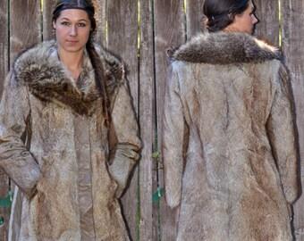 1970s Fur Coat, Size Small Coat, Real Fur Coat, USA MADE, Brown Fur Coat, Long Fur Coat, Fur Collar Coat, Fur Winter Coat, Penny Lane Coat,