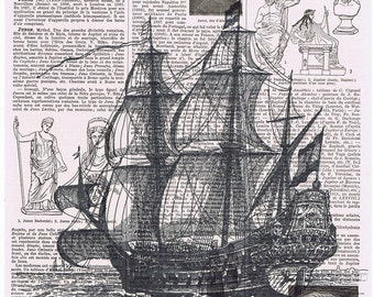 Sailboat Ship,Antique French Book Page Print.Ocean/Sea/buy 3 get 1 FREE,birthday GIft,Sailor.wall.deco.child.dad.mom.christmas gift.fisher